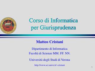 Corso di Informatica  per Giurisprudenza