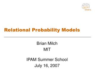 Relational Probability Models