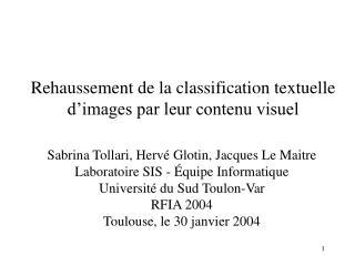 Rehaussement de la classification textuelle d'images par leur contenu visuel