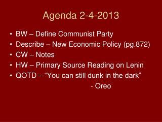 Agenda 2-4-2013