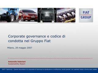 Corporate governance e codice di condotta nel Gruppo Fiat