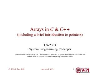 Arrays in C  C including a brief introduction to pointers