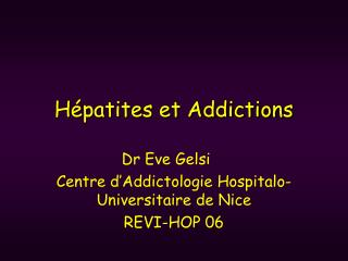 Hépatites et Addictions