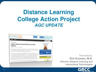 Distance Learning  College Action Project  AGC UPDATE