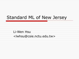 Standard ML of New Jersey