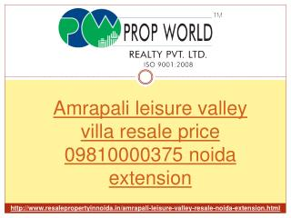 Amrapali leisure valley villa Resale Price 09810000375 Noida