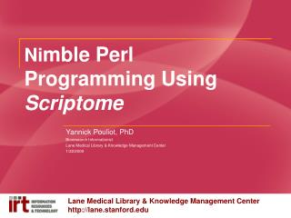 Ni mble Perl Programming Using  Scriptome
