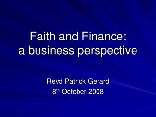 Faith and Finance: a business perspective