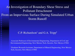An Investigation of Boundary Shear Stress and Pollutant Detachment From an Impervious Surface During Simulated Urban Sto