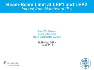Beam-Beam Limit at LEP1 and LEP2 – Impact from Number of IP ' s –