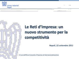 Le Reti d'Impresa: un nuovo strumento per la competitività