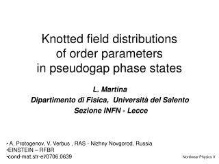 Knotted field distributions  of order parameters  in pseudogap phase states