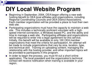 DIY Local Website Program