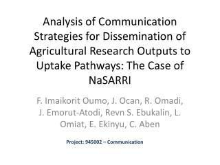 Project: 945002 – Communication