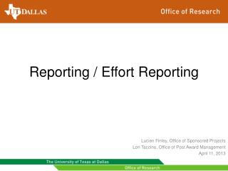 Reporting / Effort Reporting