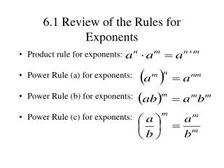 6.1 Review of the Rules for Exponents