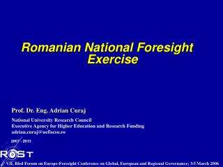 Romanian National Foresight Exercise