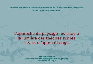 Journées nationales d'Études de Didactiques de l'Histoire et de la Géographie