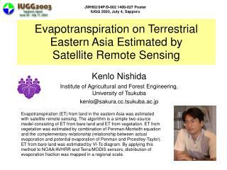 Evapotranspiration on Terrestrial Eastern Asia Estimated by  Satellite Remote Sensing