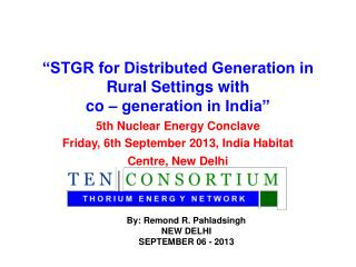 """STGR for Distributed Generation in Rural Settings with  co – generation in India"""