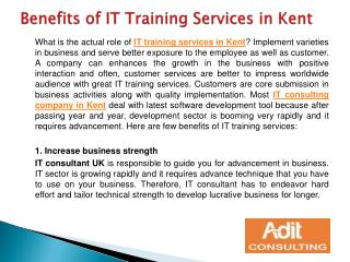 Benefits of IT Training Services in Kent