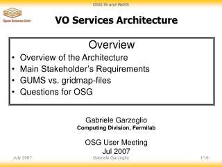 VO Services Architecture