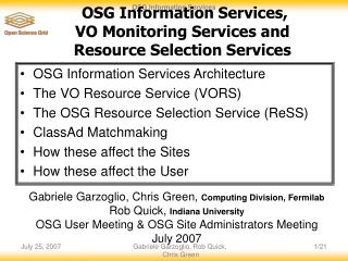 OSG Information Services,  VO Monitoring Services and  Resource Selection Services