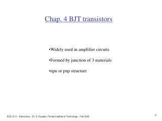 Chap. 4 BJT transistors