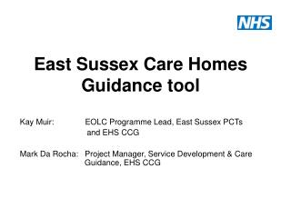 East Sussex Care Homes Guidance tool