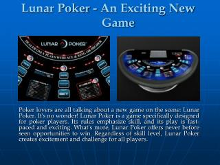 Lunar Poker - An Exciting New Game