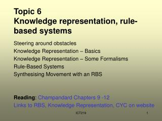 Topic 6  Knowledge representation, rule-based systems