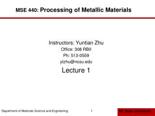MSE 440:  Processing of Metallic Materials