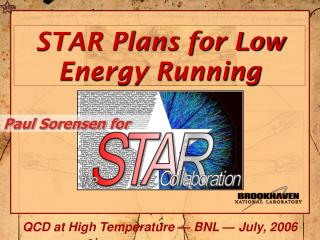 STAR Plans for Low Energy Running