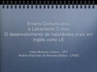 Kátia Modesto Valério - UFF Andréa Machado de Almeida Mattos - UFMG