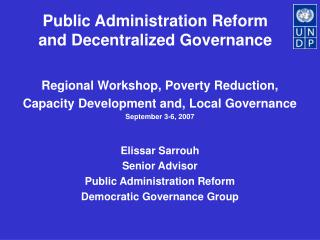 Public Administration Reform and Decentralized Governance