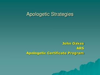 Apologetic Strategies