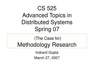 (The Case for) Methodology Research