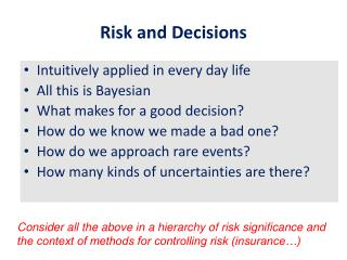 Risk and Decisions