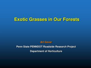 Exotic Grasses in Our Forests