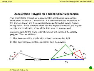 Acceleration Polygon for a Crank-Slider