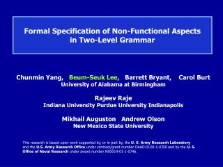 Formal Specification of Non-Functional Aspects  in Two-Level Grammar