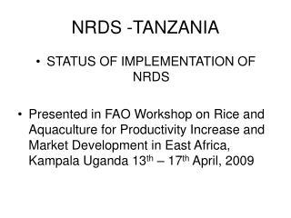 NRDS -TANZANIA