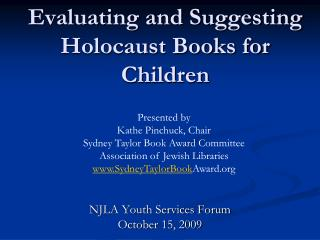 Evaluating and Suggesting Holocaust Books for Children