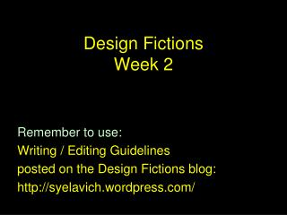 Design Fictions  Week 2