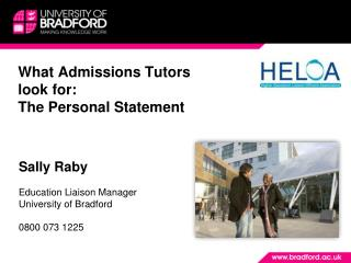 What Admissions Tutors look for: The Personal Statement