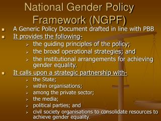 National Gender Policy Framework (NGPF)