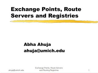 Exchange Points, Route Servers and Registries