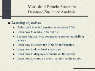 Module 3 Protein Structure Database