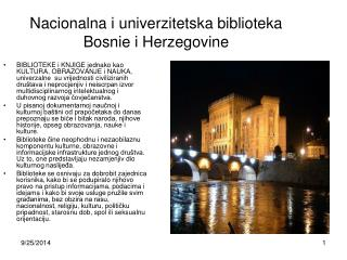 Na c ional na i  univer z it etska biblioteka Bosni e i  Herzegovin e