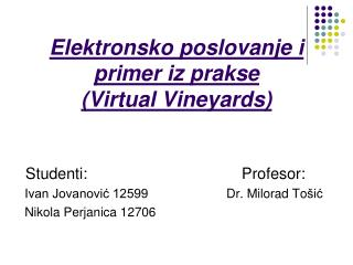 Elektronsko poslovanje i primer iz prakse  (Virtual Vineyards)